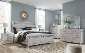 Brashland White <b>8 Pc</b>. Dresser, <b>Mirror</b>, Chest, King Panel Bed & 2 ...