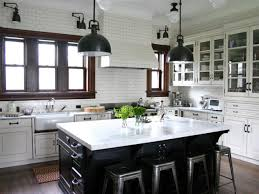 interesting contemporary kitchen design with full tile wall decor and antique white l shape wooden kitchen antique white pendant lighting
