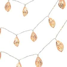 Ouniman Rose <b>Gold Leaf Copper</b> Metal <b>LED</b> String Lights for Party ...