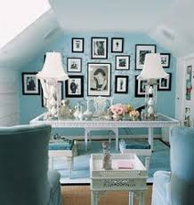 love the look of the blue with the bw blue home office