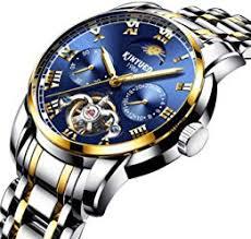 kinyued moon phase mens automatic mechanical watches waterproof skeleton tourbillon watch men black sports reloj hombre dropship