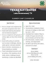 texas 4 h conference center summer jobs summer staff flyer