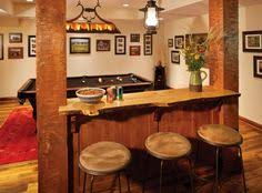 traditional home bar designs with antique pendant light and white wall paint color also using wood browse mini pendant orange