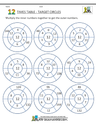 12 Times Tables Worksheetstimes table worksheets 12 times table circles 1