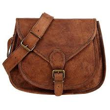 Curved Brown Leather <b>Saddle Bag</b> | Genuine Goat Leather Cross ...