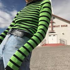 <b>Harajuku Contrast Striped Sweater</b> Black & Green Color Block ...