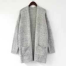 New <b>Cotton Solid Cardigan</b> Long Sleeve Knitted <b>Sweater Women</b> ...