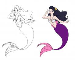 Premium Vector | Brunette <b>girl</b> with purple fish <b>tail</b> and sketch