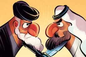 Image result for iran and saudis battle political cartoon