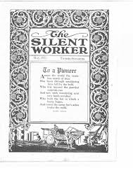the hand of the silent worker reading an asl imageword peridical cover of the silent worker containing a poem by meredith nicholson surrounded by a