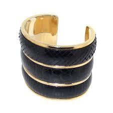 <b>Yves Saint Laurent</b> Black Snakeskin <b>Reptile</b> Skin Cuff Bracelet <b>YSL</b> ...