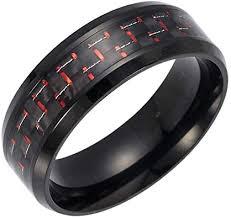 tJexePYK Men's Titanium Ring Ring Plated with <b>Carbon Fiber</b> Inlay ...