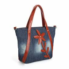 <b>KISS KAREN</b> Vintage Fashion Denim Tote <b>Floral</b> Designer Women ...