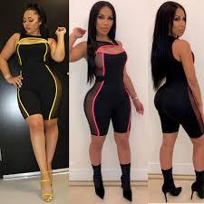 HAOYUAN <b>Neon</b> Stripe <b>Mesh Patchwork</b> Shorts Ompers Womens ...