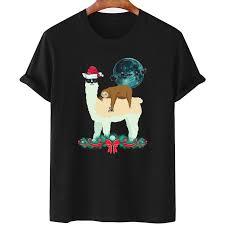 Llama With <b>Glasses</b> Sloth <b>Christmas Santa</b> Sleigh Moon Silhouette ...
