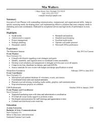 event resume sample template event resume sample