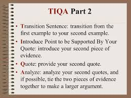 tiqa how to write an organized essay using tiqa   ppt download tiqa part  transition sentence transition from the first example to your second example