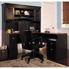 gorgeous black swivel chair designed in modern style matched with cool computer desk with hutch in chic lshaped office desk