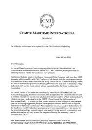 correspondence from the president comite maritime correspondence from the president comite maritime internationalvisa application letter application letter sample