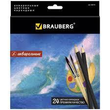 """Купить Карандаши <b>цветные</b> акварельные <b>BRAUBERG</b> """"Artist line ..."""
