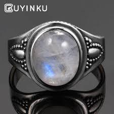 <b>GUYINKU Natural Moonstone Gemstone</b> Rings Solid 925 Sterling ...