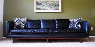 found mid century modern black leather sofa the gathered home black leather mid century