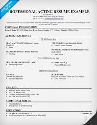 acting resume sample amp writing tips resume companion acting resume sample resume format for actors audition resume format