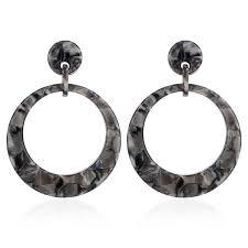 <b>2019</b> Vintage <b>Acrylic</b> Grey Leopard Print Big Round Earrings For ...
