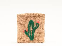 <b>CACTUS</b>: <b>Green Plant</b> Embroidered Woven Storage Basket – The ...