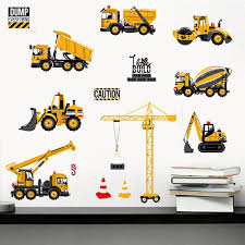 Comet  <b>Cartoon Excavator</b> Construction Wall <b>Stickers Decals</b> Baby ...