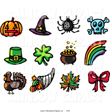 vector clip art of a digital set of holiday icons pumpkin witch hat