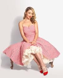 Lola Lu Red Gingham Strapless 50s <b>Swing</b> Dress by British <b>Retro</b> ...