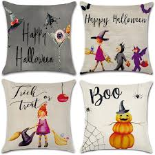 NKIPORU 4Pcs Happy <b>Halloween</b> Cotton Linen Pillow Cover ...
