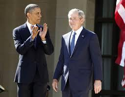 george w  bush presidential center is dedicated in dallasu s  president barack obama  l  applauds as former president george w  bush arrives