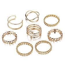 FINETOO 8 PCS <b>Simple</b> Knuckle Midi Ring Set <b>Vintage Gold</b> for ...
