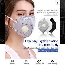 <b>Reusable KN95</b> Mask Valved Face Mask <b>N95 Respirator</b> 5 Layers ...