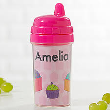 <b>Customized Sippy</b> Cups for Girls - 4 Designs - Baby Gifts