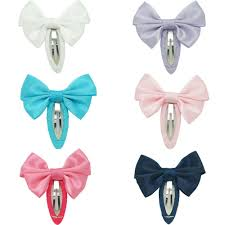 /2 <b>Solid</b> Hairgrips <b>Satin</b> Bow With Ribbon <b>Covered</b> Bb Clip For Girls ...