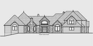 Luxury House Plans  Master On The Main House Plans  House front drawing elevation view for Luxury house plans  master on the main house