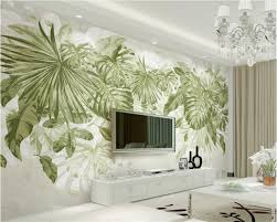 <b>Beibehang Custom Wallpaper</b> Tropical style Green Leaves Plants ...
