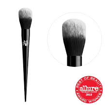 jweijiao loose powder brush inclined yellow hair head professional single makeup silver color metal and plastic handle