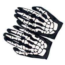 1Pair Short Skeleton Gloves <b>Skull Bone</b> Ghost Gloves <b>Halloween</b> ...