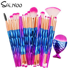 SALIYOO <b>21pcs</b> Fish Tail Diamond Mermaid <b>Makeup Brushes</b> Set ...