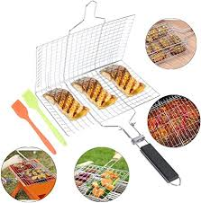 TIANTIAN <b>Portable</b> Fish <b>Grill</b> Basket with Removable Handle 2 ...
