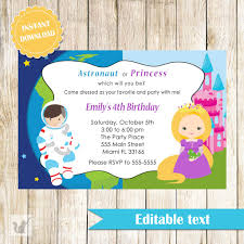 kids invitations pink the cat astronaut princess invitation kids birthday