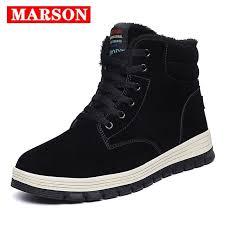 <b>MARSON Men's Winter</b> Warm Boots Cotton Shoes Men Casual Flats ...