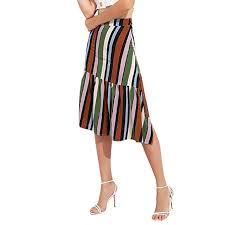 Women's Summer <b>Striped Printing Irregular</b> Skirt Folds Ruffle ...