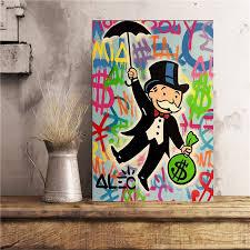 Alec Monopolies Riding Money <b>Pop Art Canvas Painting</b> Print ...