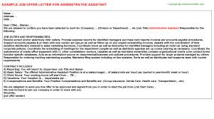 Executive Administrative Assistant Offer Letters Samples