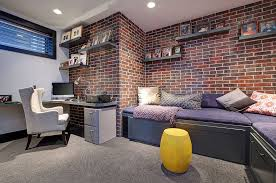 exposed brick walls are a cool way to add red to the contemporary home office add home office